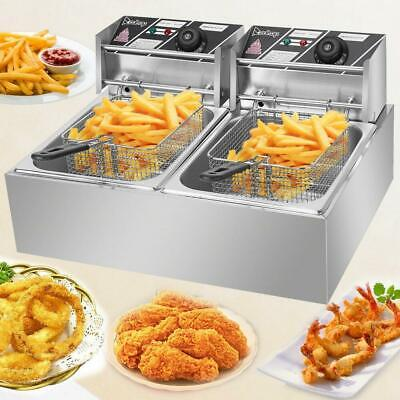 ZOKOP 5000W 12L Stainsteel Electric Deep Fryer Dual Tank Commercial Restaurant