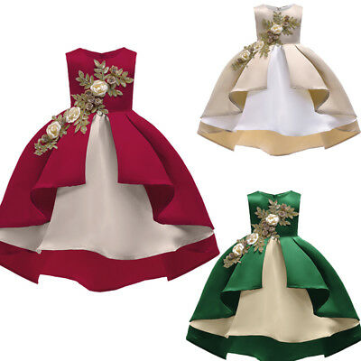 Kids Baby Girl Princess Bridesmaid Pageant Gown Birthday Party Wedding Dress UK