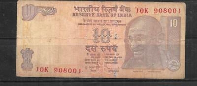 India #95K 2009 10 Rupees Vg Used  Banknote Paper Money Currency Bill Note