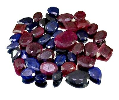 470ct / 43pcs Natural Ruby Sapphire Ring Size UK Gemstone Wholesale Lot