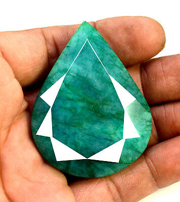 239ct Natural Faceted Pear Shape Dark Green Emerald Loose Gemstone for Pendant