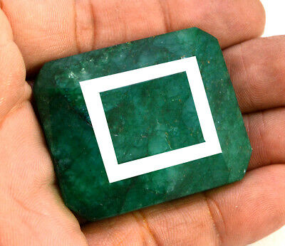 203ct Natural Faceted Rectangular Green Emerald Loose Gemstone for Pendant