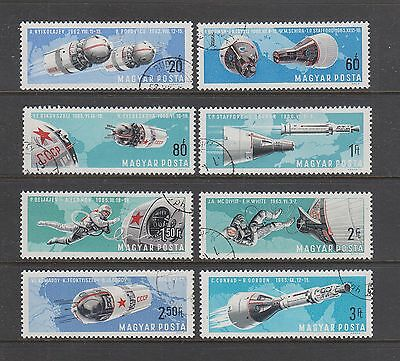 HUNGARY #1803-1810 Used 1966 Set of 8 AMERICAN & RUSSIAN TWIN SPACE FLIGHTS