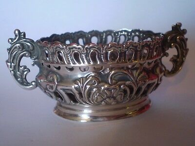 Stunning Antique Art Nouveau Solid Silver Twin Handle Embossed Trinket Dish
