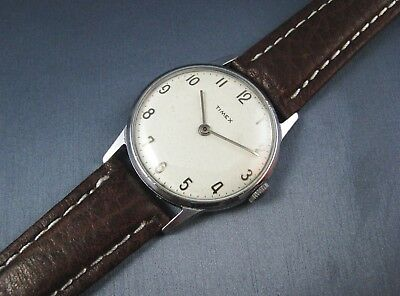 NICE Vintage Timex 1950s Hand Wind Silver Tone Mens Watch Base Model 21 Movement