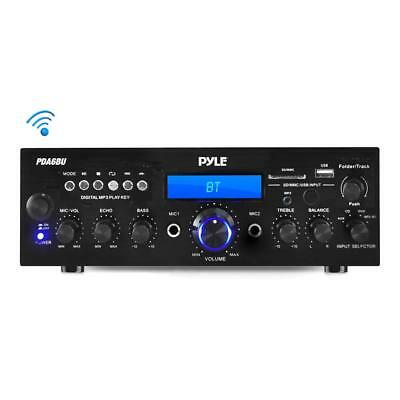 Pyle PDA6BU Bluetooth Stereo 200W Amplifier Receiver FM USB & SD Card Aux Mic in