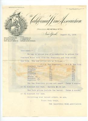 California Wine Association Illustrated Letter 1909 Price Reductions Pre Pro