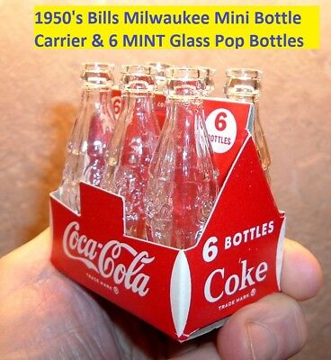 1950's Coca Cola Salesman Sample Soda 6 Pop Mini Bottles Bills Milwaukee NMINT