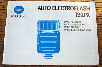 original MINOLTA auto electro 132PX flashgun guide instruction manual booklet