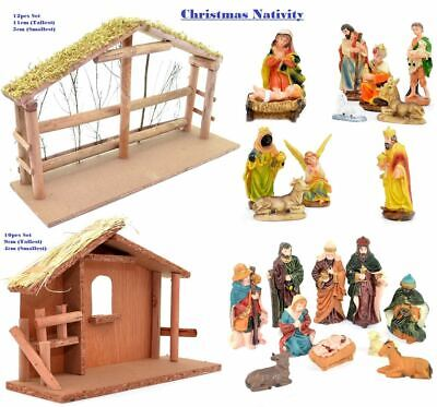 Traditional Christmas Nativity Scene Figurines Stable Crib Set Xmas Decorations