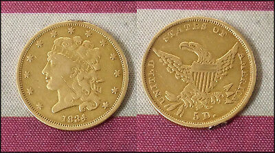 1834 United States $5 GOLD Liberty Classic Head Design Half Eagle