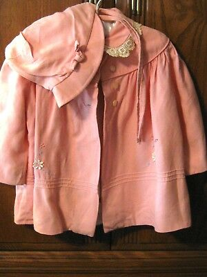 VINTAGE Baby Girl Toddler Coat & Bonnet Embroidery Accents Lined 1973 Lace