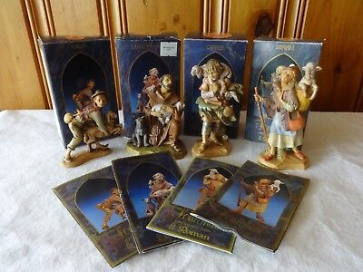 "4 Pc Lot Vintage Fontanini 5"" Heirloom Nativity Figures W/boxes & Story Cards"