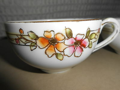 Nippon Hand painted  two (2) tea/coffee cups floral raised gold (9)