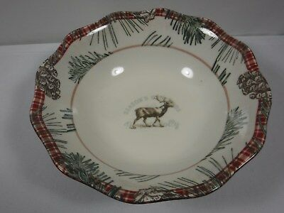 "222 Fifth Mount Holly Christmas Reindeer Winter New 10"" Serving Bowl"