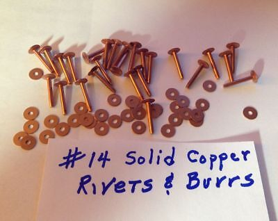 "SIZE #14 SOLID COPPER RIVETS & BURRS/WASHERS 3/4"" Long_PK of 12 Sets_U.S SELLER"
