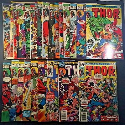 Vintage 1970's Marvel The Mighty Thor Comic Book 25x LOT READ DESCRIPTION (7