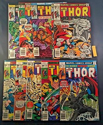 Vintage 1970's Marvel The Mighty Thor Comic Book 10x LOT READ DESCRIPTION (8