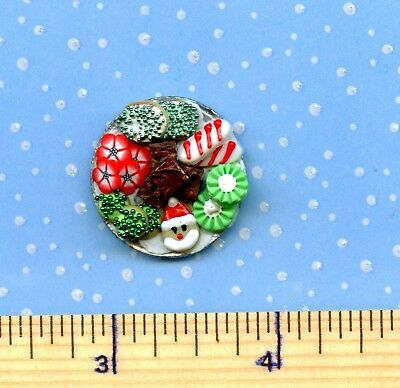 Dollhouse Miniature SMALLER Plate of Sue's CHRISTMAS Holiday Cookies  #  505