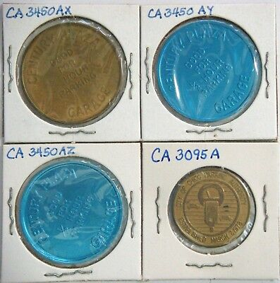 """4 different CALIFORNIA Parking Tokens  (in 1½"""" X 1½"""" holders)"""