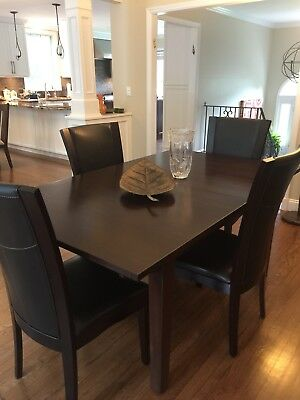 Ethan Allen Dining Room Table with Two Extensions, 4 Leather Chairs, Dark Walnut