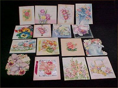 Vintage Antique Birthday Card Greetings Used ALL Flowers Beautiful 50s Crafts