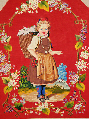 Large Antique Frame-Ready Needlepoint Portrait Picture Young Dutch Girl/Flowers