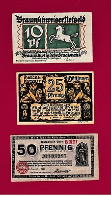 RARE LOT of THREE NOTGELD NOTES: 10,20 & 50 Heller 1920 (47) - Very Collectible