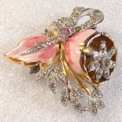 Vintage Art Deco Clear Pink Rhinestone Pink Enamel TREMBLER Flower Brooch REPAIR