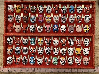 Chinese Beijing Miniature Hand Painted Opera Masks-Set Of 66