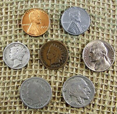 Mercury Silver Dime Starter Collection Mix Lot of 7 Old US Coins + 3 WHEAT Ears