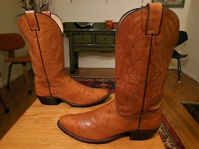 Pre-owned JUSTIN Men's Golden Brown Leather Western Cowboy Boots  11.5B  USA!