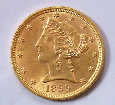 1899 Gem BU $5 Gold Liberty Head Half Eagle United States Gold Coin