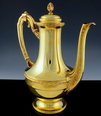 STUNNING ANTIQUE FRENCH 22k GOLD PLATED SOLID 950 STERLING SILVER COFFEE POT N/R