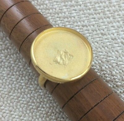 Gold Vermeil Ring Blank 20mm Round Bezel Cabochon Setting Adjustable Finding