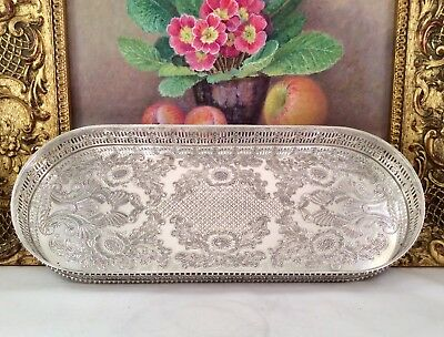 """UNUSED"" VINERS Repousse Silver On Copper Galleried Cocktail Decanter Tray C1930"