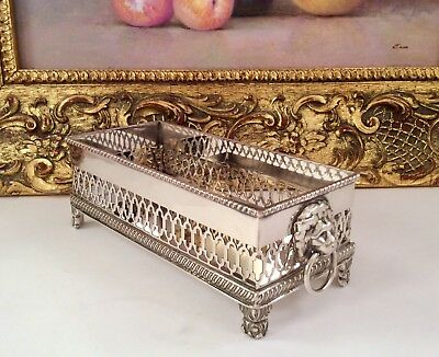 Rare Antique Silver On Copper Footed Biscuit Tray Lionsheads Ring Handles C1900