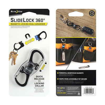 Nite Ize Slidelock 360 Magnetic Locking Carabiner Key Ring Holder Clip Edc Grey