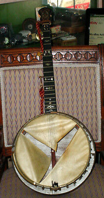 "Antique Multi Mother Of Pearl Inlayed 1800 Era Quality 35 1/2"" Banjo Needs Tlc"