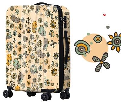 A281 Lock Universal Wheel Birds Pattern Travel Suitcase Luggage 24 Inches W