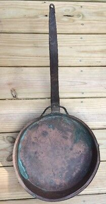 Antique Copper Skillet Sauce Fry Pan Wrought Iron Handle Hearth Fireplace Decor