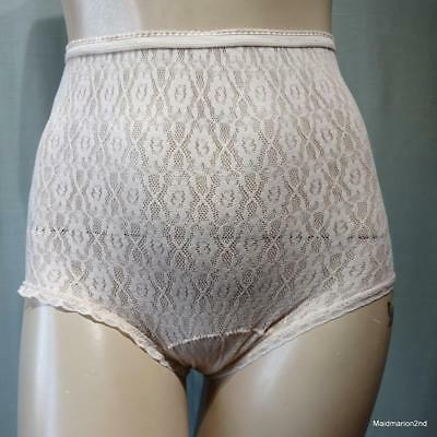 St MICHAEL VINTAGE SOFT PEACH STRETCH NYLON LACE KNICKERS PANTIES Med