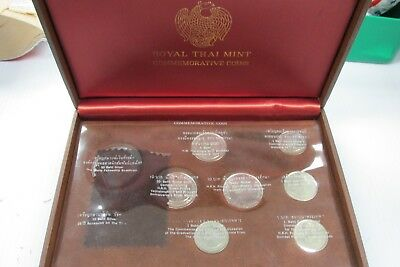 Royal Thai Mint Commemorative Coin 9 Piece Set with Silver in Case *Q4EC