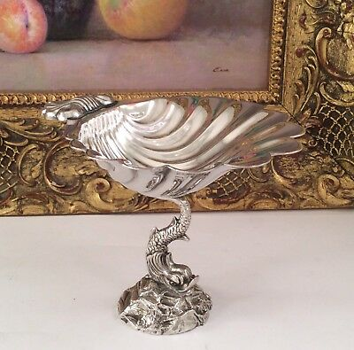 Rare 19th Century Repousse SEA SERPENT Silver Plated Footed Caviar Dish C1880