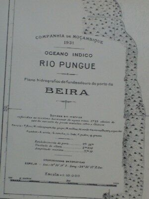 Vintage Hydrographic Plan Of Port Of Beira - River Pungue Mozambique 1931 VGC