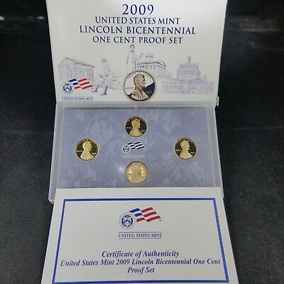 2009 S Lincoln Cent Proof 4 Coin Bicentennial Set with Box & COA *Choice Quality