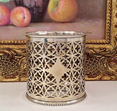 Fine Quality Antique Open Fretwork Pierced Silver Plated Bottle Holder C1900