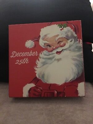 Vintage Style Red & White Father Christmas wooden signs December 25th