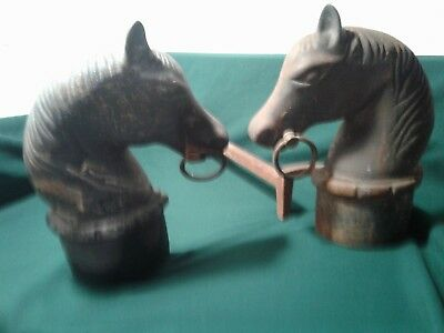 "Vintage Pair 12"" tall Cast Iron Fireplace Fire Andirons Horse Heads Finial Ends"