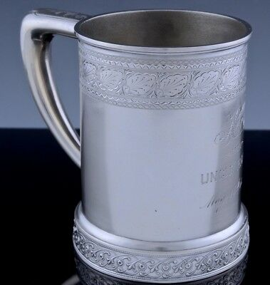 EXCELLENT c1875 WHITING GORHAM ETCHED STERLING SILVER BEER ALE TANKARD CUP MUG